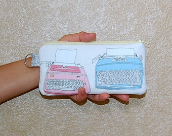 Typewriters - Pen / Pencil Case (Pink and Turquoise)