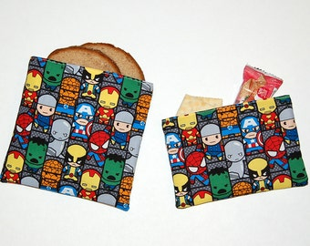 Eco Friendly Reusable Sandwich and Snack Bag Set - Handcrafted from Kawaii Marvel Superheroes Fabric (Zipper or Velcro)