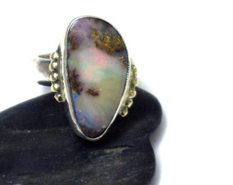 Australian Opal Ring, Silver Opal Ring, Blue Opal Ring, Sterling Silver 14k Gold Opal, Beauty Opal Ring, Gift for Wife, October Stone