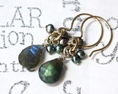 Labradorite and Pearl Sterling Silver Handmade Earrings Shades of Gray