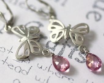 Pink Topaz Sterling Silver Butterfly Earrings, Handmade Sterling Silver Butterfly Jewelry, Silver Butterfly Dangle Earrings