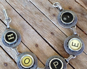 Typewriter Key Bracelet Jewelry - HOPE - Retro - Recycyled - Reclaimed - Vintage - Custom Orders Welcome