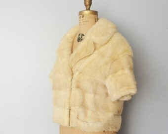 Blonde mink jacket-  bridal fur coat ivory wedding  mink fur cape