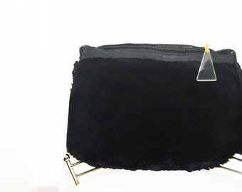 Art Deco Black  beaver fur muff, vintage  fur purse