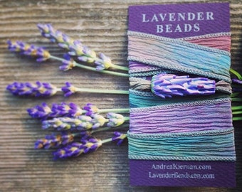 Lavender Glass Bead Wrap Bracelet in Rainbow Watercolors in Gift Box with Lavender Sachet Buds