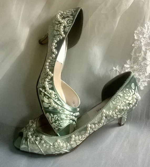 Items Similar To Sage Green Wedding Shoes Lace Shoes Painted Shoes Roses S