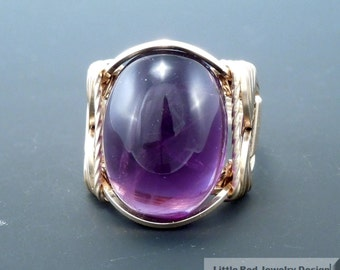 14 k Gold Filled Amethyst Cabochon Wire Wrapped Ring