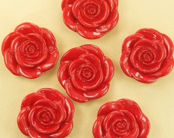 6 Large Red Rose Pendant