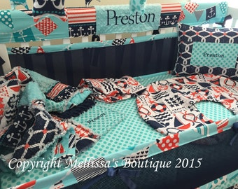 Custom Nautical Sailor/Pirate Aqua Navy & Red Boutique Crib Bedding Set CHOOSE and CUSTOMIZE