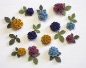 Tiny Felt Flowers and Leaves Heirloom Assortment