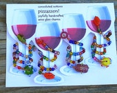 handmade glass beaded wine glass charms