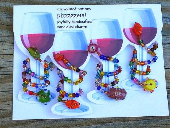 handmade glass beaded wine glass charms