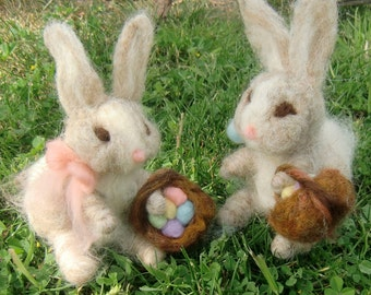 Bunny- needle felted playmat Waldorf Inspired by Rebecca Varon Nushkie Design -