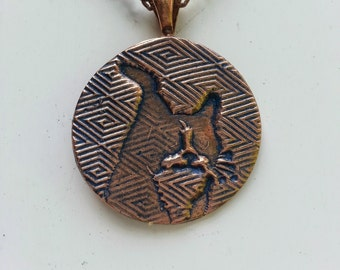 "Zig Zag Cat Copper Circle Pendant, 1"" diameter necklace, 18"" antiqued chain, blue stain. Maureen Gallagher Jewelry"