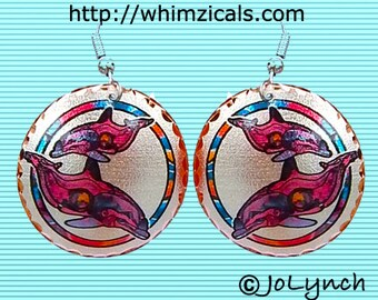 Pink Dolphin Earrings and Art Jewelry
