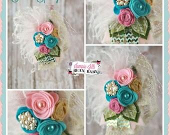 Boutique Custom Sweet Spring rosette headband