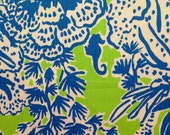 "lilly pulitzer's limeade biggest fan vintage dobby cotton fabric square 18""x18"""