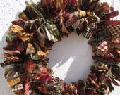 Primitive Medley Small Rag Wreath Homespun Fabric Primitive Country Rustic Decor