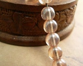 Peach Shimmer Czech Glass Beads Round Druk Apricot Luster 6mm (30)