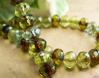 Green Aqua Mix Czech Glass Rondell Bead Peridot Picasso 4x6mm Fire Polished (25)