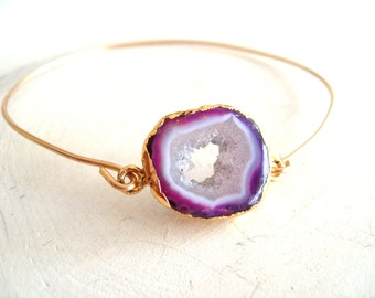 Purple Druzy Agate slice bangle Gold Drusy bangle Agate jewelry Geode Under 55