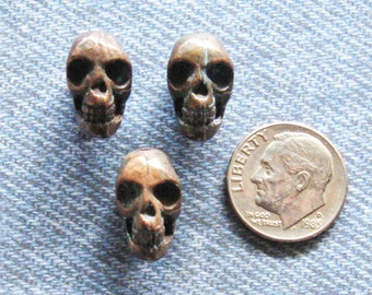 Brass Skull Bead Jewelry Finding Lot [3] Day Of The Dead Antique Vintage German Biker Necklace Pendant Hardware Charm