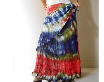 Women Boho Hippie Multi-color Tie Dye Cotton Long Ruffle Wrap Skirt S -L (TD 36)