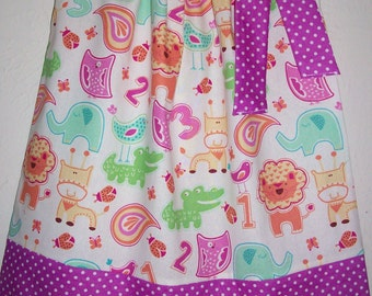 Girls Dress Pillowcase Dress with Zoo Animals Dress with Giraffe Jungle Party Safari Party Zoo Party baby dress toddler dress with Elephant