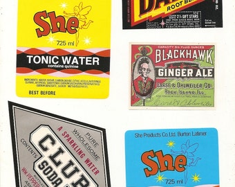 27 different old 1930's Plus SODA / JUICE LABELS Etc