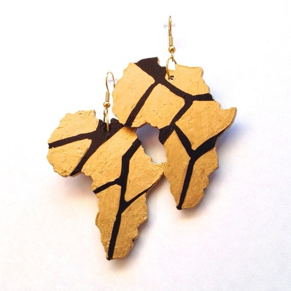 Black And Gold Africa Earrings Afrocentric African American