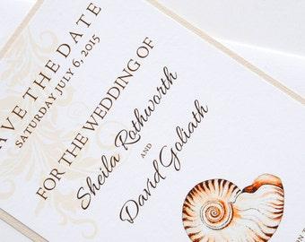 Sea Shell Beach Destination Wedding Save the Date
