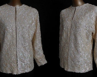 Vintage 50s Cardigan Sweater - 1950s 3-D Hand Sequined Off White Cashmere Sweater - Iridescent  - Size L
