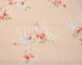 1930s Vintage Wallpaper by the Yard - Floral Wallpaper with Blue and Coral Tea Roses on Peach