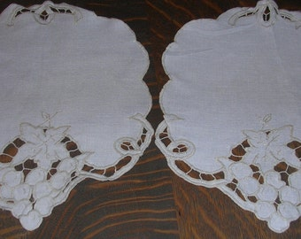 """Two Vintage Beige Cotton Doilies Cutwork Flower Embroidery Accents  9"""" X 10""""  D5550"""