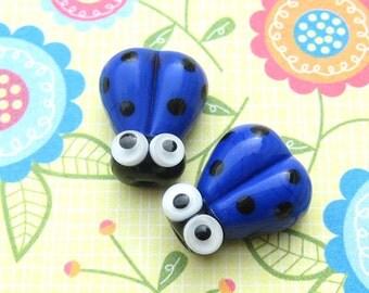 2 Glass Ladybug Beads, Lampwork Ladybug Beads, 15mm Beads,  Blue Ladybug, Blue Ladybird, SRA Handmade Lampwork, DIY Jewelry - Z