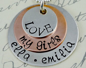 LOVE My Girls or My Boys or My Kids Necklace - Grandma Mom -  Hand Stamped Sterling Silver  Jewelry