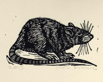 Animal Art, Black Rat Linocut Art Print, animal wall decor