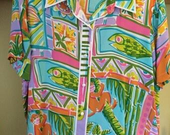 Vintage Bob Mackie flamboyant silk blouse