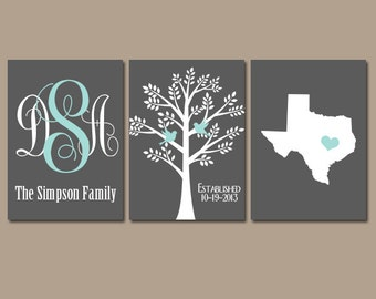 Personalized Wall Hangings yellow gray family tree custom wall art canvas or prints