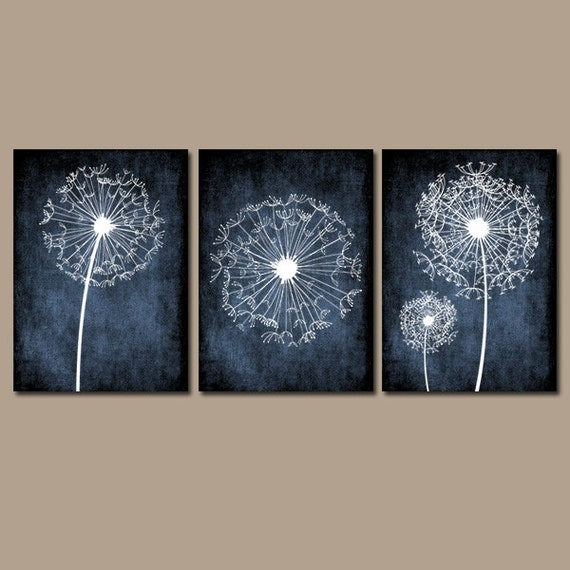 Light Blue Bathroom Wall Art Canvas Or Prints Blue Bedroom: DANDELION Wall Art Flower Navy Blue Custom Colors By TRMdesign
