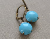 Turquoise Glass Earrings Estate Retro Aqua Vintage Glass Cabochon Turquoise Lever Back Brass Earrings Polka Dot Petite and Dainty Printemps