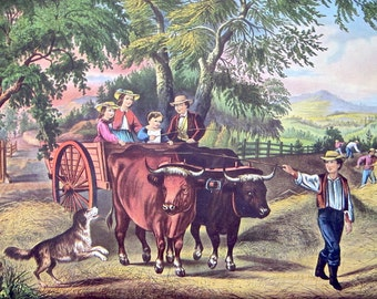 Haying Time - The First Load Currier & Ives' Lithograph Reprint