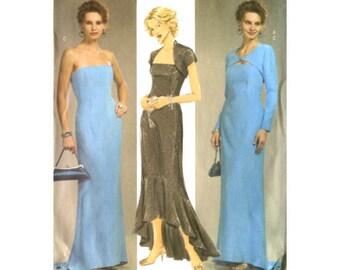 Butterick 4731 Womens Formal Strapless Evening Dress / Flounce Hem / Shrug Jacket Sewing Pattern - Size 14-16-18-20 Uncut
