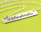 Custom Twitter or Instagram Necklace in aluminum and sterling silver -hand stamped
