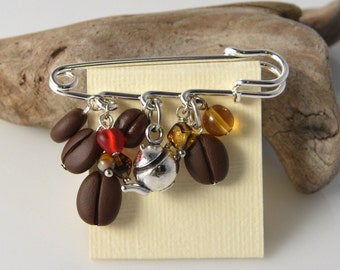 Coffee Beans & teapot Brooch Pin