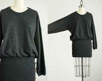 90s Vintage Gray Knit Sweater Batwing Mini Dress / Size Small
