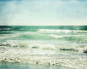 Beach Photography / nature photography / teal seashore ocean waves wall art aqua blue beach cottage decor fine art photograph - Wave Rhythm