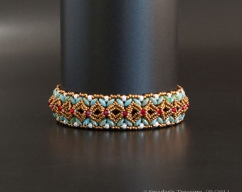 Bronze Beaded Bangle Bracelet with Swarovski Crystals in Red and Glass beads in Green Turquoise and White. Embellished Bangle S249