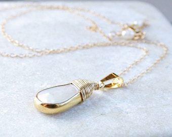White Pearl Necklace Gold Filled Jewelry Delicate Pendant Creamy June Birthstone Necklace Elegant  Accessories Pearl Jewelry  For Girlfriend