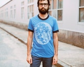 Men's graphic tee, full moon screenprint on American Apparel heather blue ringer tshirt by Blackbird Tees - CLOSEOUT